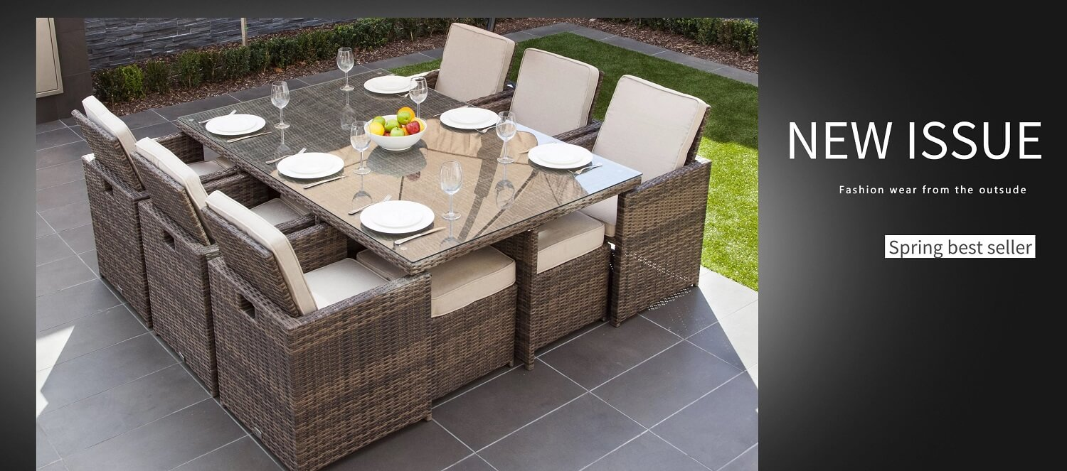 Baptist 6 Piece Rattan Sofa Set With Cushions Outdoor Wicker Patio Furniture Set Wicker Garden Rattan Furniture