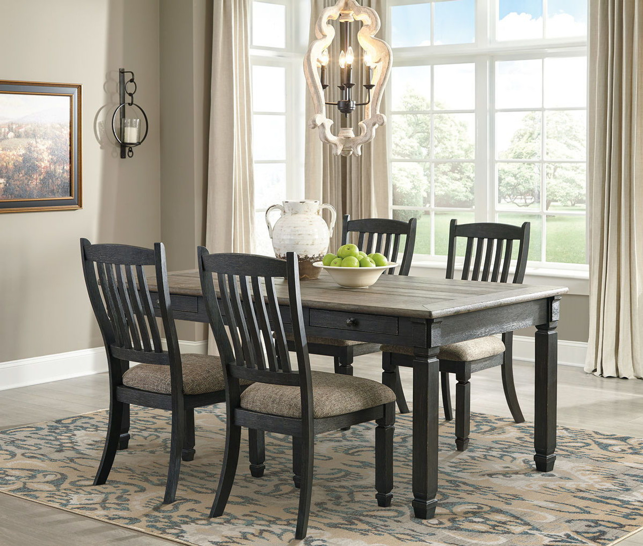 The Tyler Creek Black Gray 5 Pc Rectangular Table 4 Upholstered Side Chairs Available At Dayton Discount Furniture Serving Vandalia Kettering And Springfield Ohio