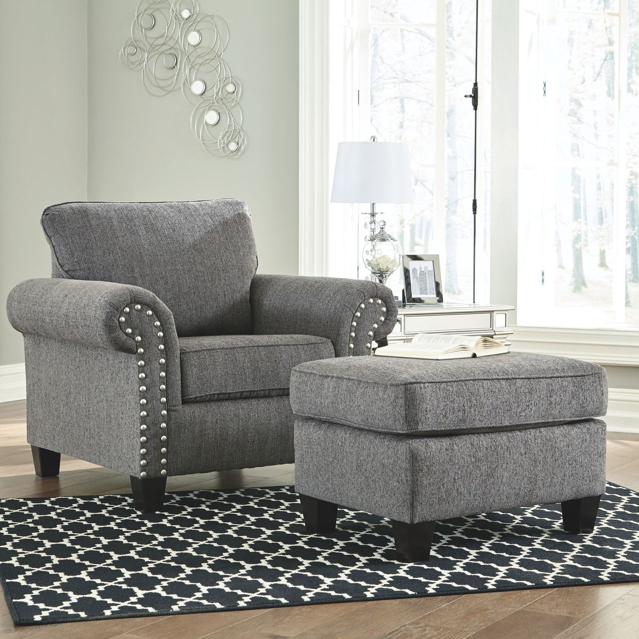 Chair Ottoman Agleno Charcoal Chair With Ottoman