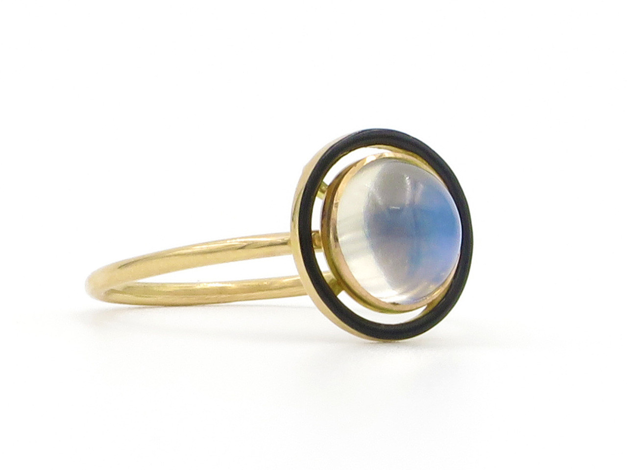 Art Nouveau Yellow 14 Karat Yellow Gold Art Nouveau Moonstone Black Enamel Ring