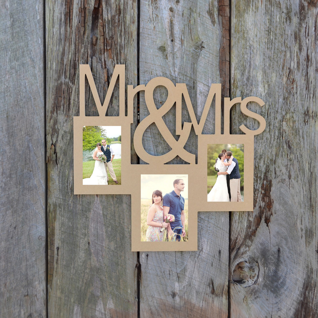 Diy Picture Frame Glass Mr And Mrs 2 Photo Picture Frame Unfinished Diy