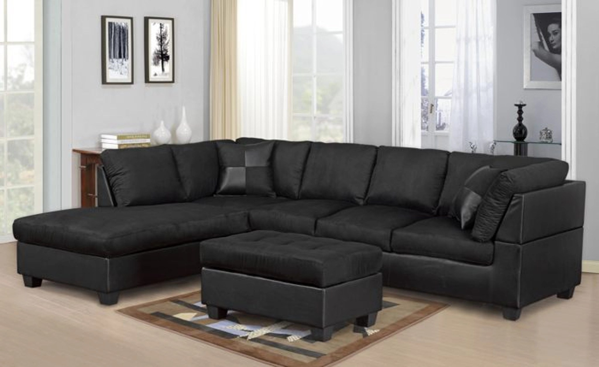 Modern 2 Pcs Cypress Black Color Sectional Sofa And Chaise Set Km Home Furniture Mattress