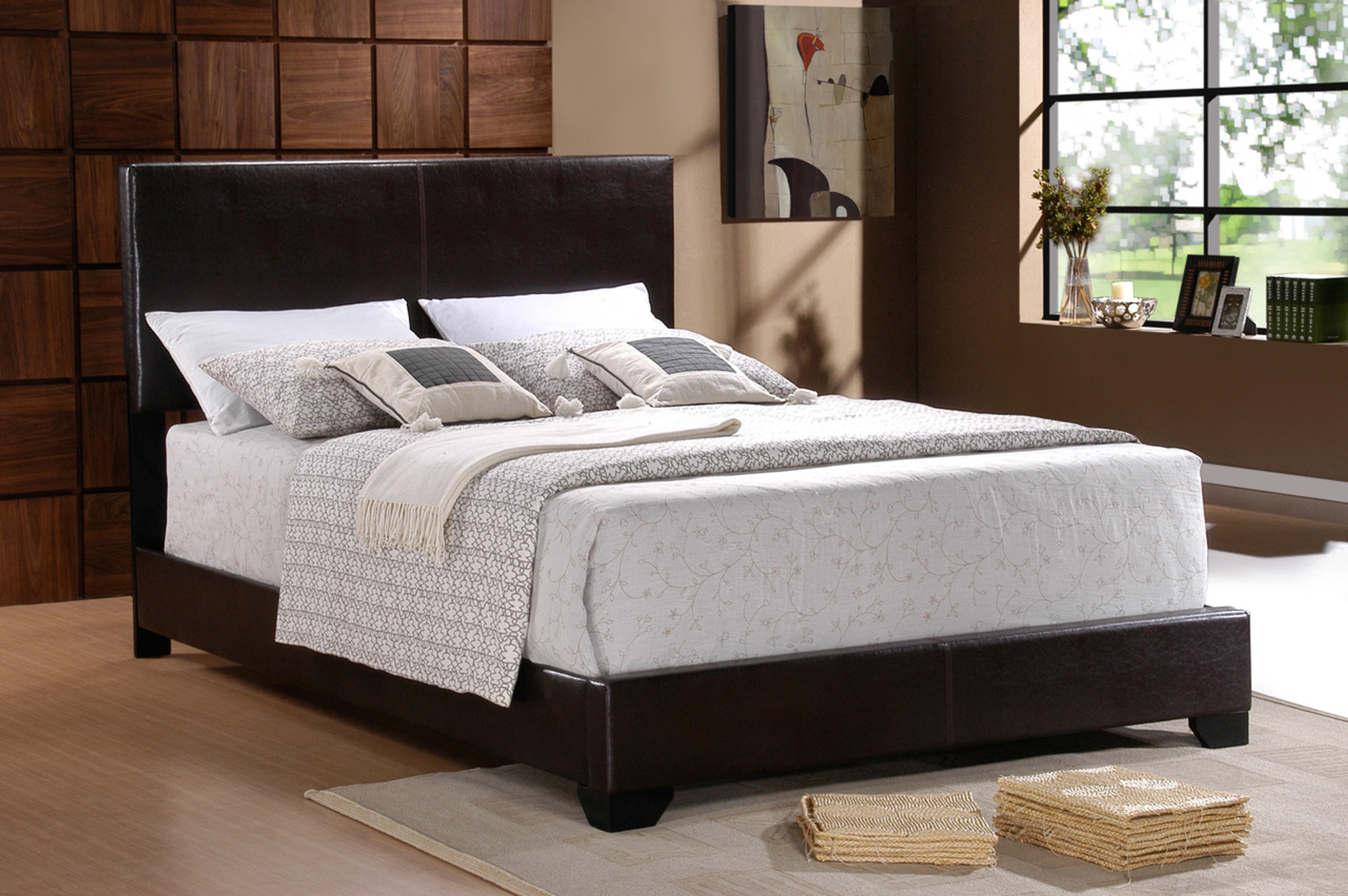 Leather Bed Frame Erin Black Leather Bed Frame Mattress And Boxspring