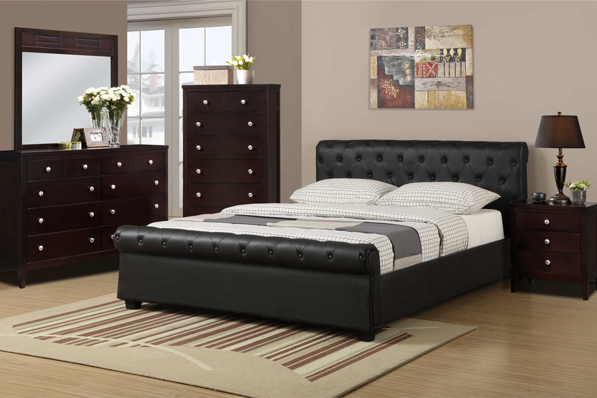 Kassa Mall Home Furniture F9246f Q Accented Full Queen Size Bed Platform Upholstered In Black Leather