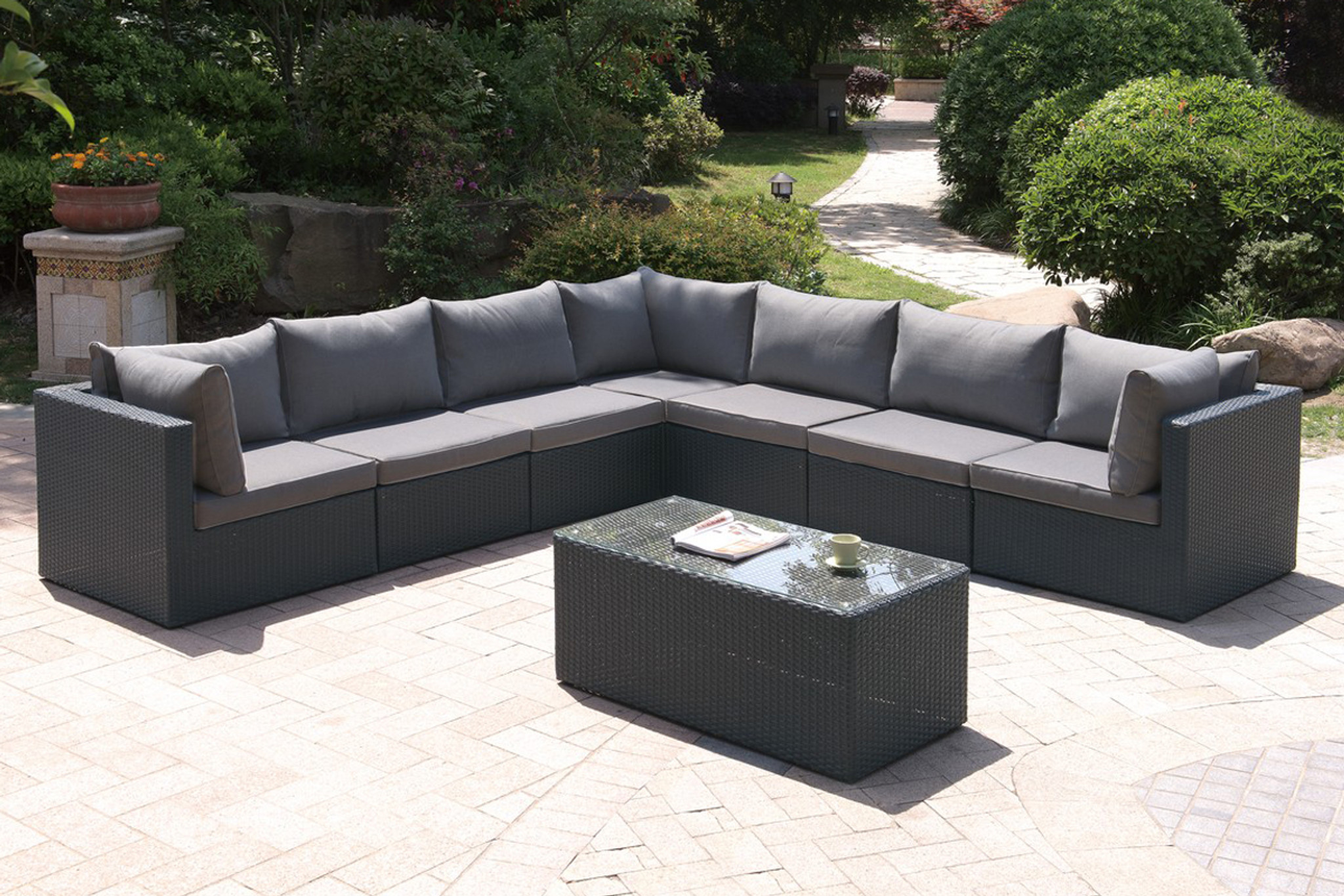 Cheap L Shaped Rattan Sofa 8pc Outdoor Patio Sofa Set In Dark Brown Resin Wicker And Grey Seat Cushions