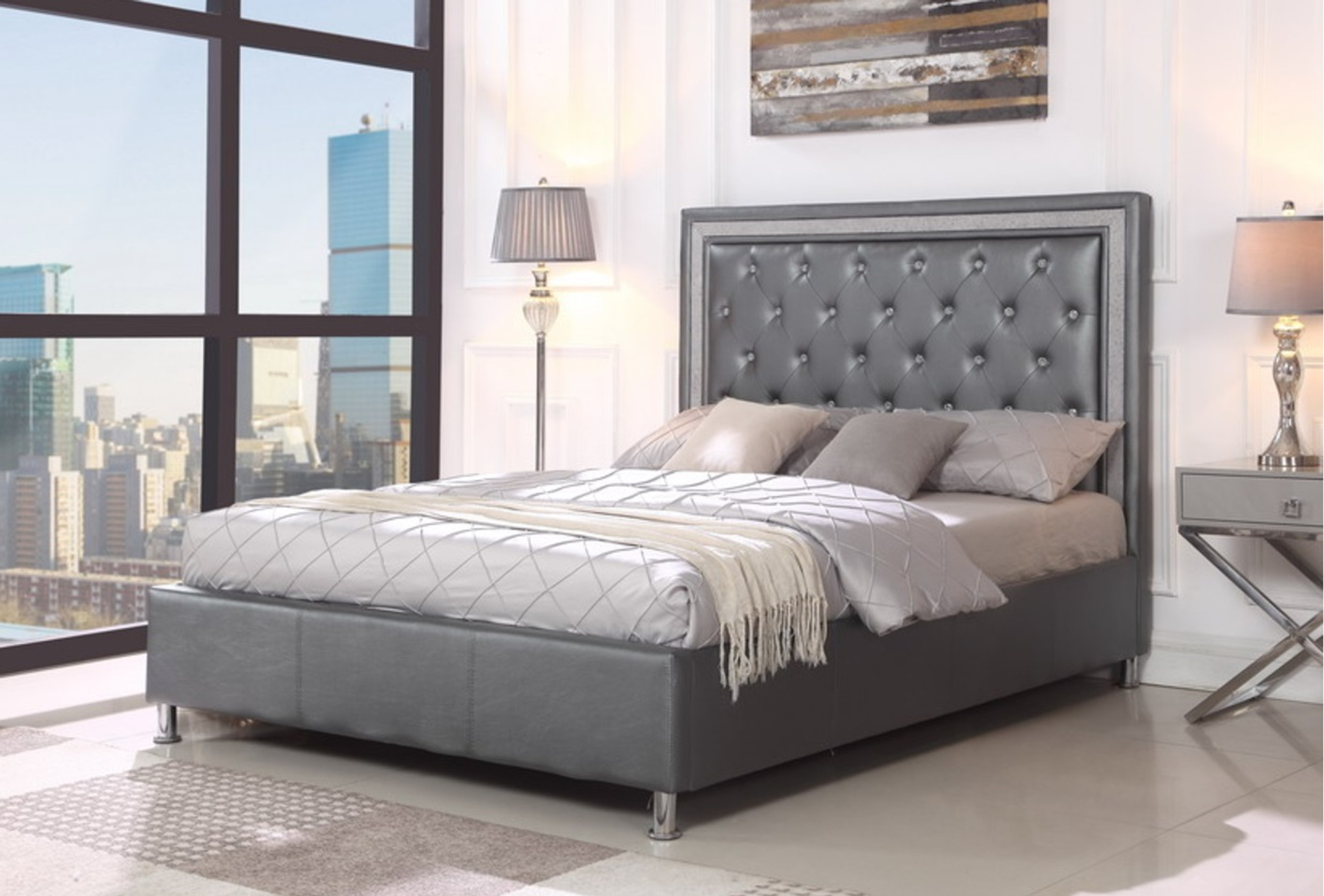 Leather Bed Frame Miccaela Gray Leather Tufted Platform Bed Frame And Mattress