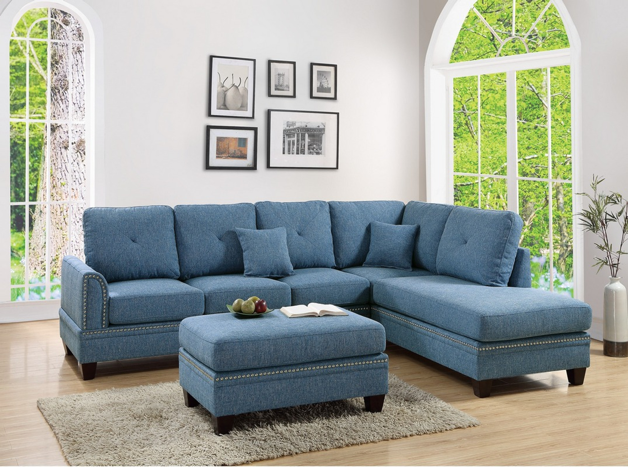 Blue Sectional 2pc Paisley Sectional Set In Blue