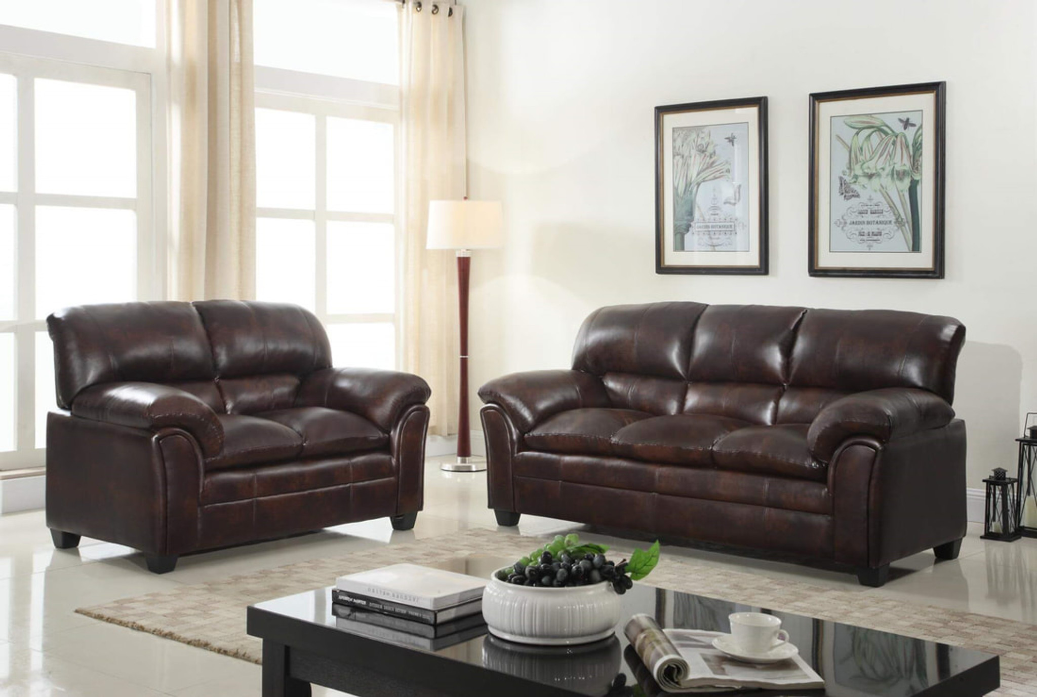 Brown Sofa And Loveseat Sets 2pcs Parker Brown Sofa And Loveseat Set