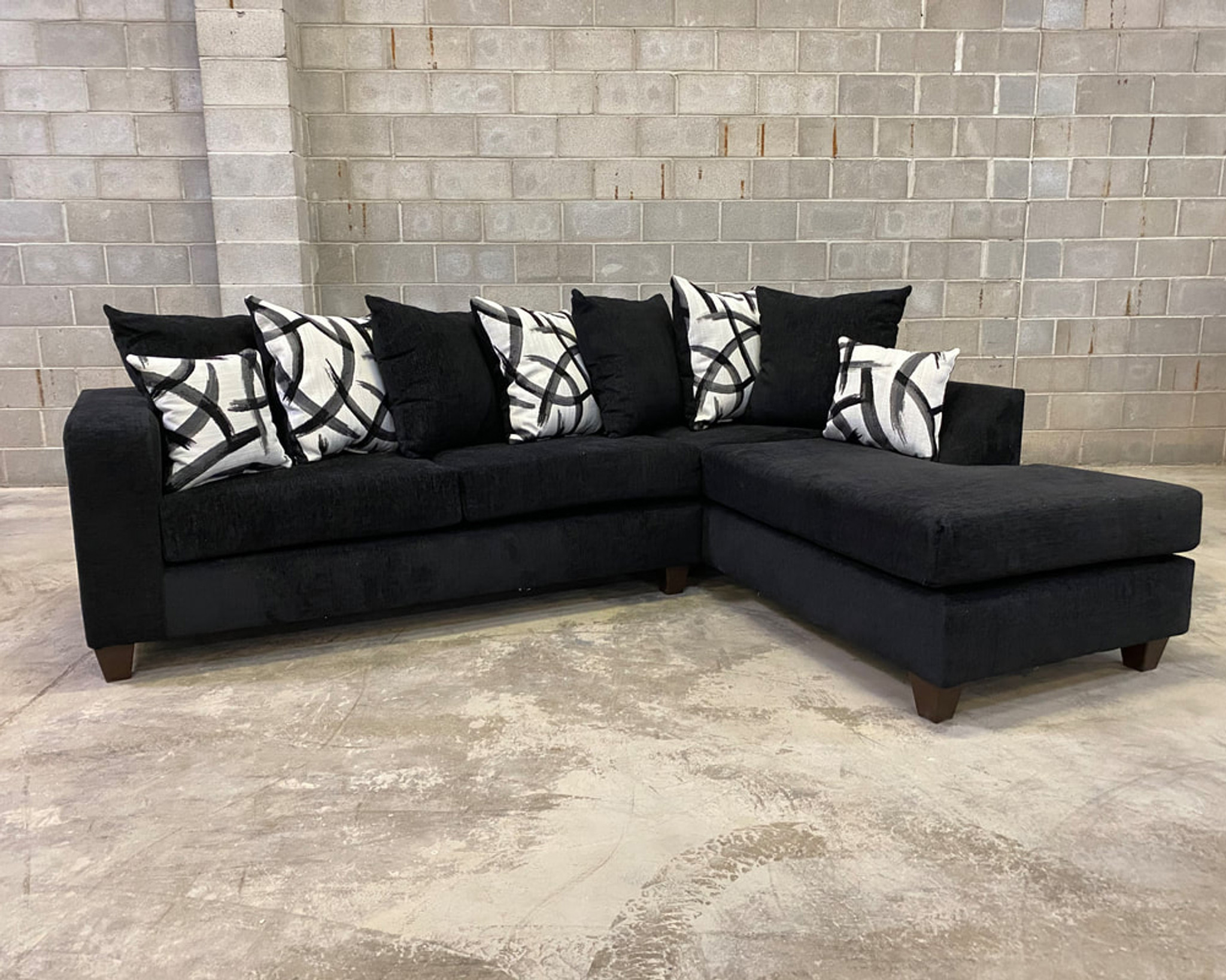 2 Pcs Madison Sectional Sofa In Black Color Happy Home Industries Houston Texas 110 Black