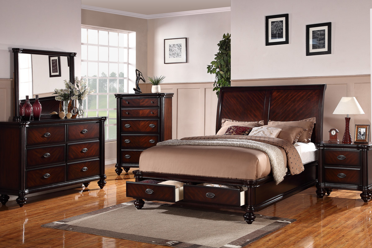 Queen Bed Frame Margaret Bedroom Bed Frame Dark Brown Finish With Storage