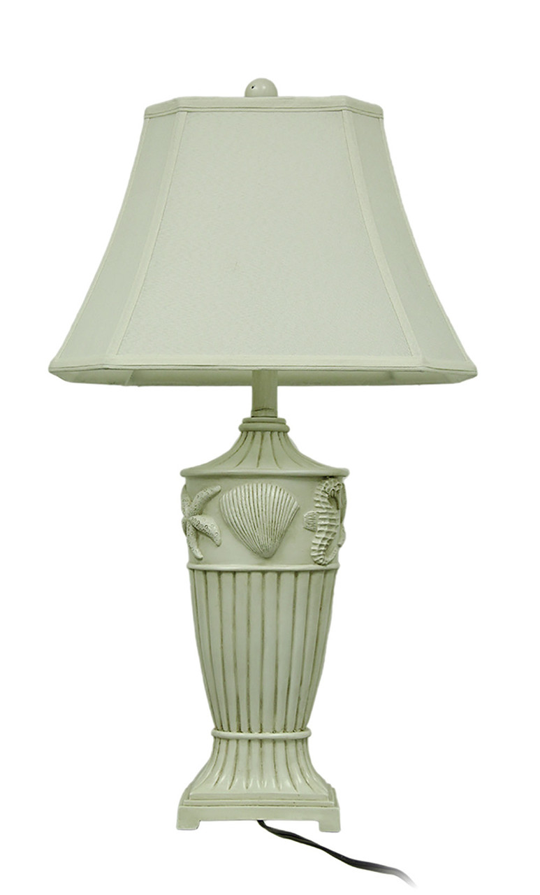 Coastal Lamps 2 Piece Off White Ribbed Coastal Seashell Table Lamp Set W Fabric Shade