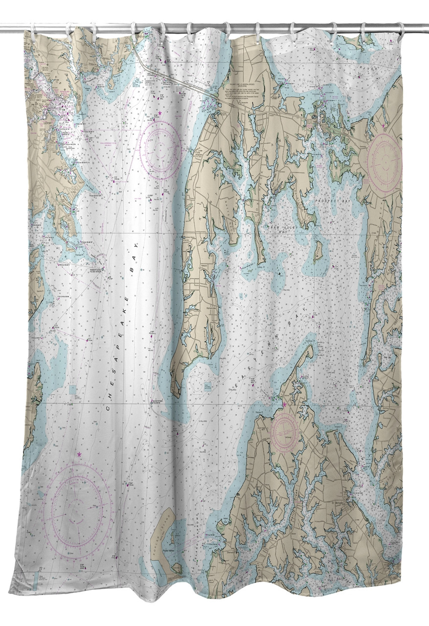 82 Shower Curtain Betsy Drake Kent Island Md Nautical Map Shower Curtain
