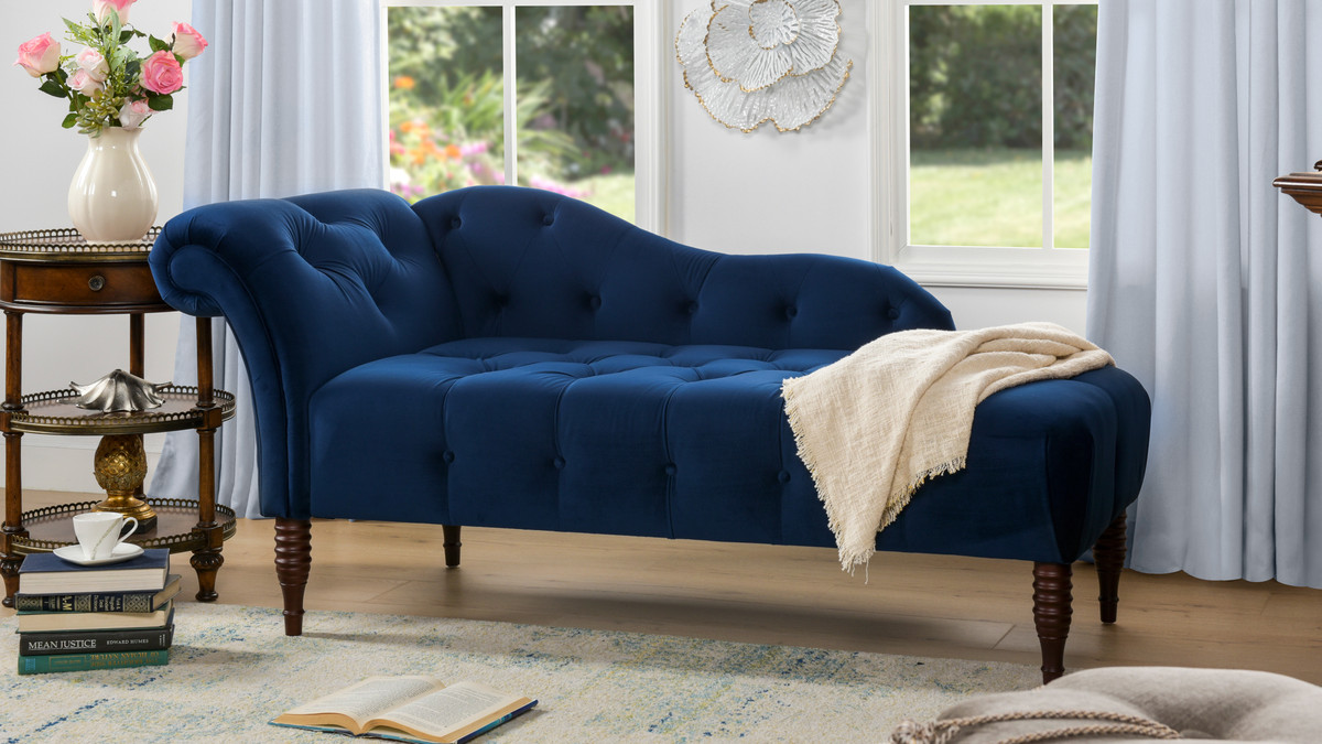 Samuel Tufted Chaise Lounge Right Arm Facing Navy Blue Jennifer Taylor Home