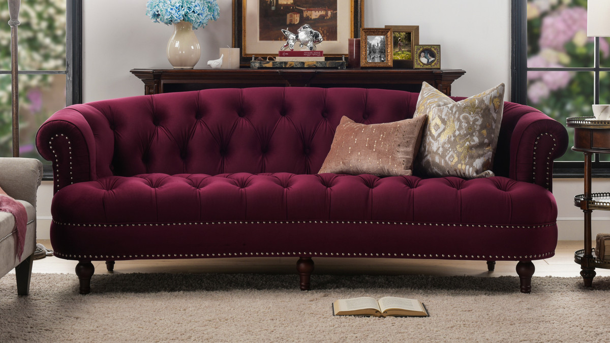 "Rosa Couch La Rosa 84"" Chesterfield Sofa - Jennifer Taylor Home"