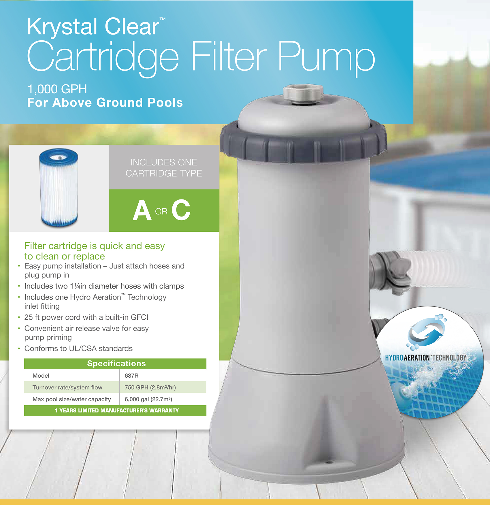 Pool Filterpumpe Welche 1000 Gph Krystal Clear Cartridge Filter Pump 110 120v With Gfci