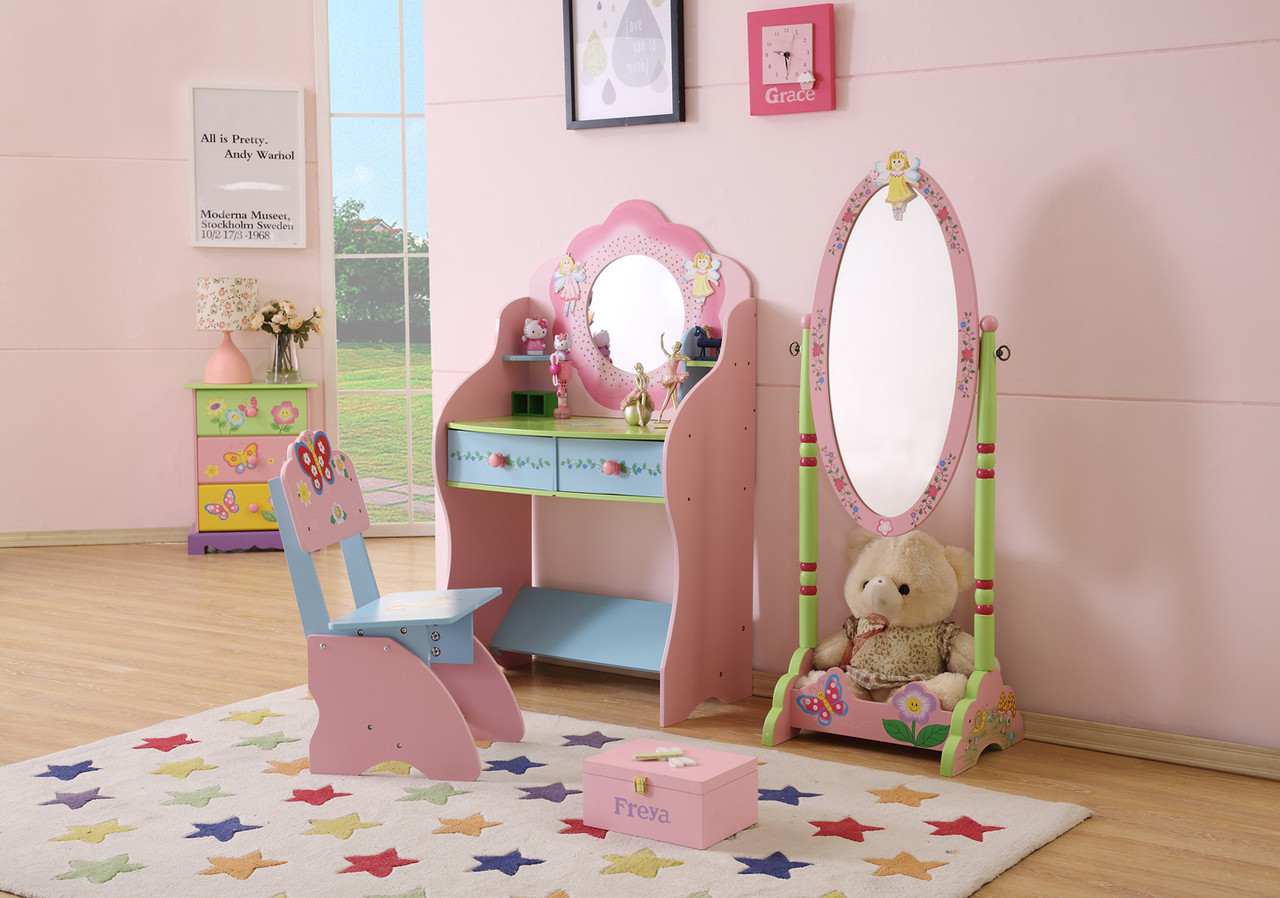 Girls Dressing Table All 4 Kids Large Girls Hand Painted Dressing Table With Chair