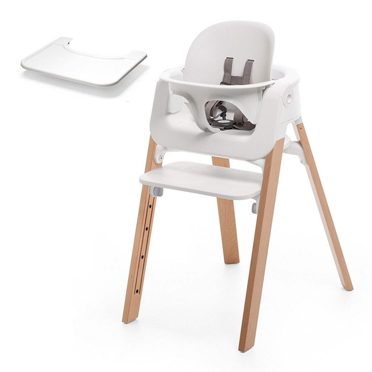 Stokke Maxi Cosi Car Seat Stokke Steps High Chair With Baby Set And Tray White Seat With Natural Legs