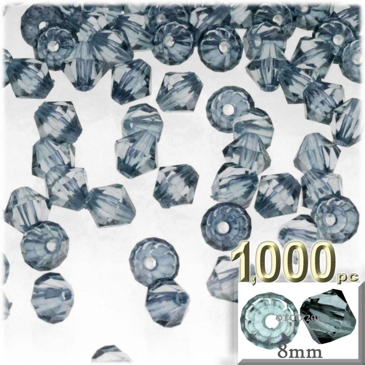 8mm Jeans Plastic Beads Bicone Transparent 8mm 1000 Pc Blue Jeans