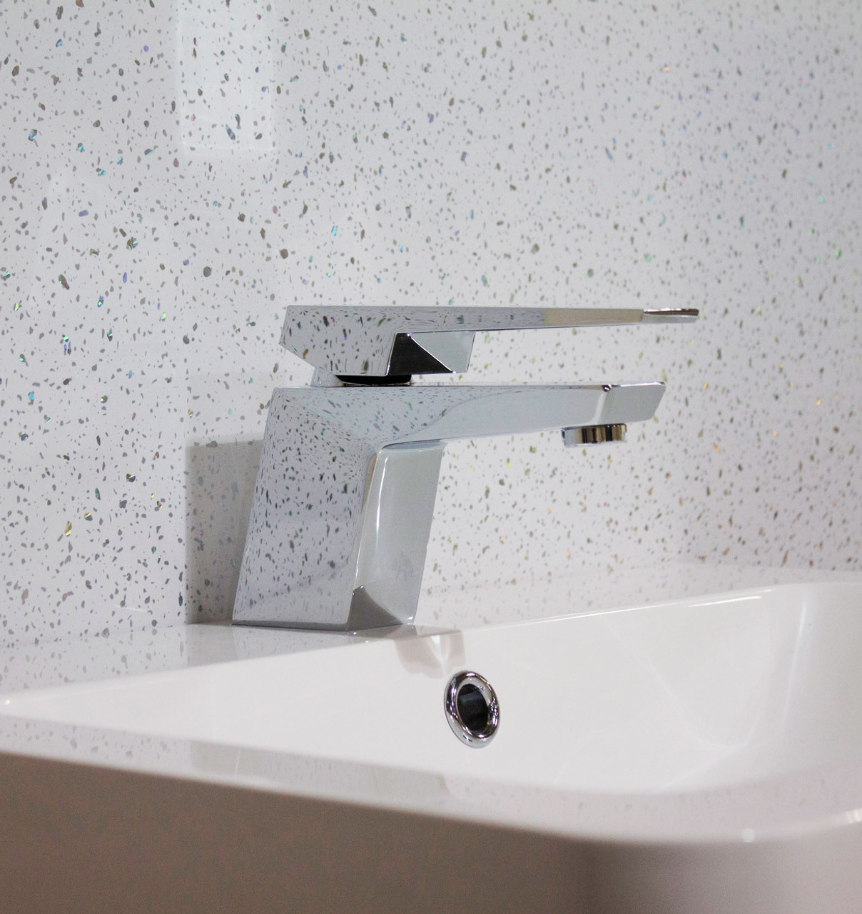 White Sparkle Wet Wall Panel With Silver Speckles Wet Wall Works