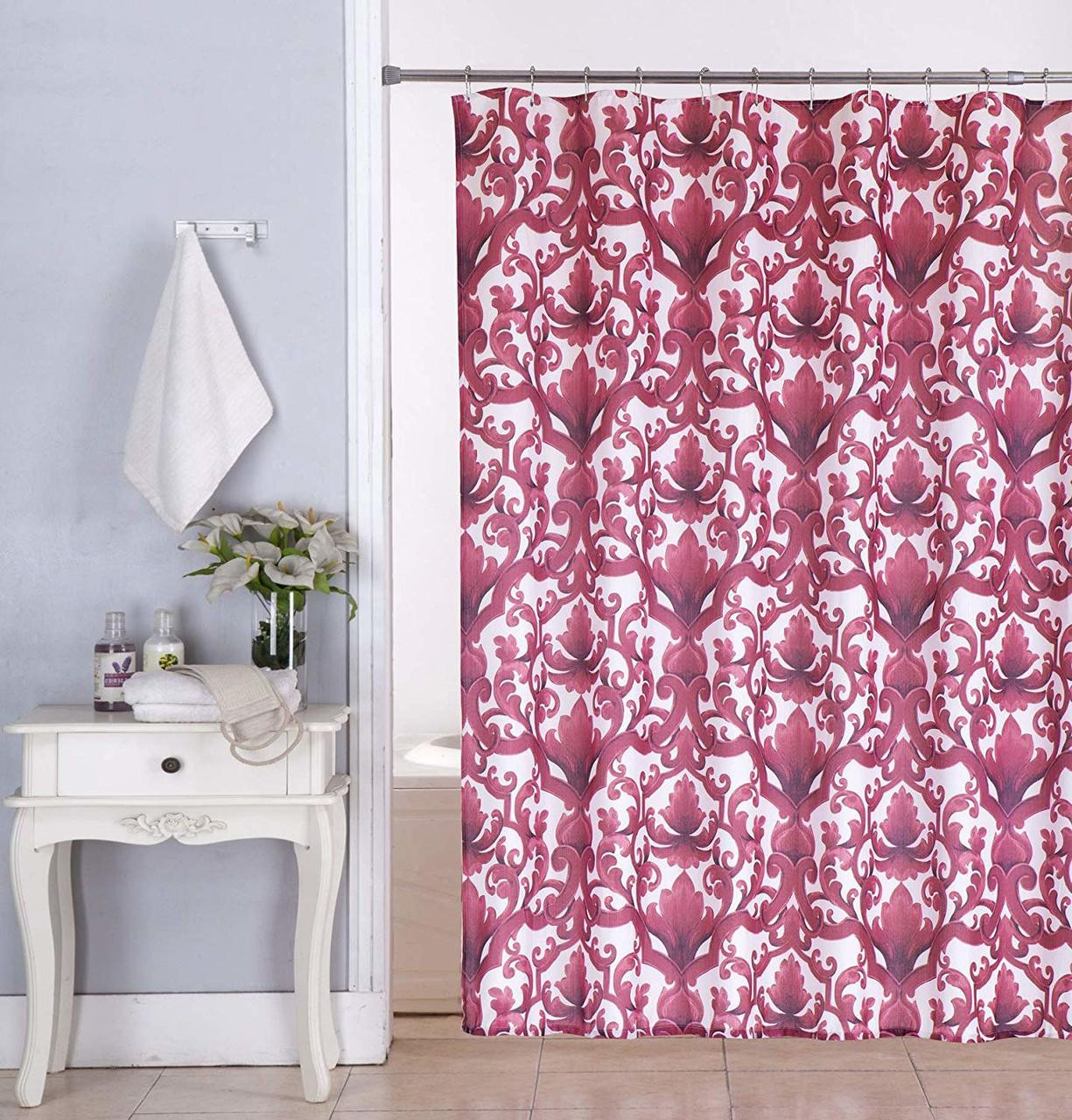 Ariel Shower Curtain Kashi Home Ariel 70x70 Inch Canvas Fabric Shower Curtain Scroll Damask Print Burgundy