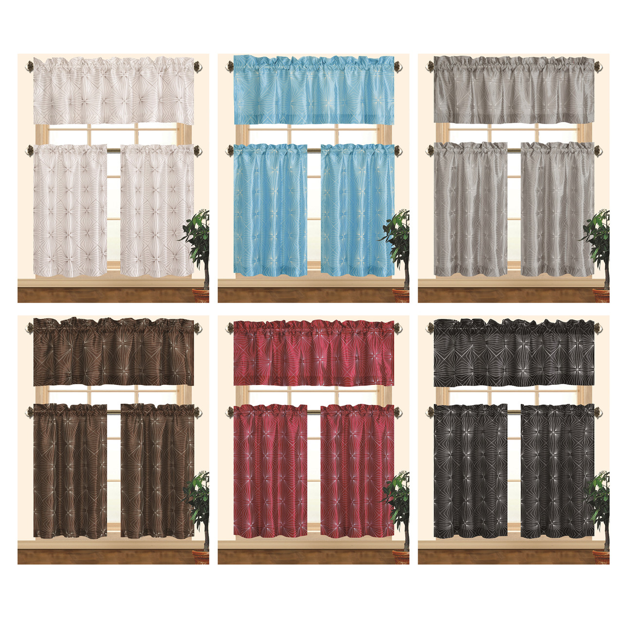 Faux Silk Curtains Kashi Home Dana Kitchen Curtain Set Decorative Faux Silk 3pc Rod Pocket Valance Panels With Geometric Embroidery Design