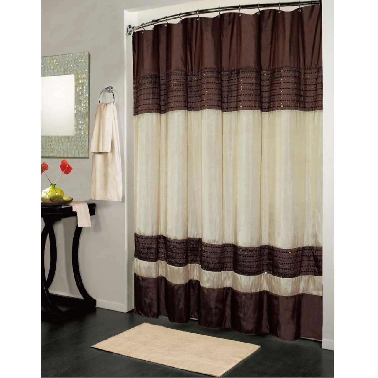 Linen Stripe Shower Curtain Ibiza Striped Sequin Accents Brown Ivory Shower Curtain