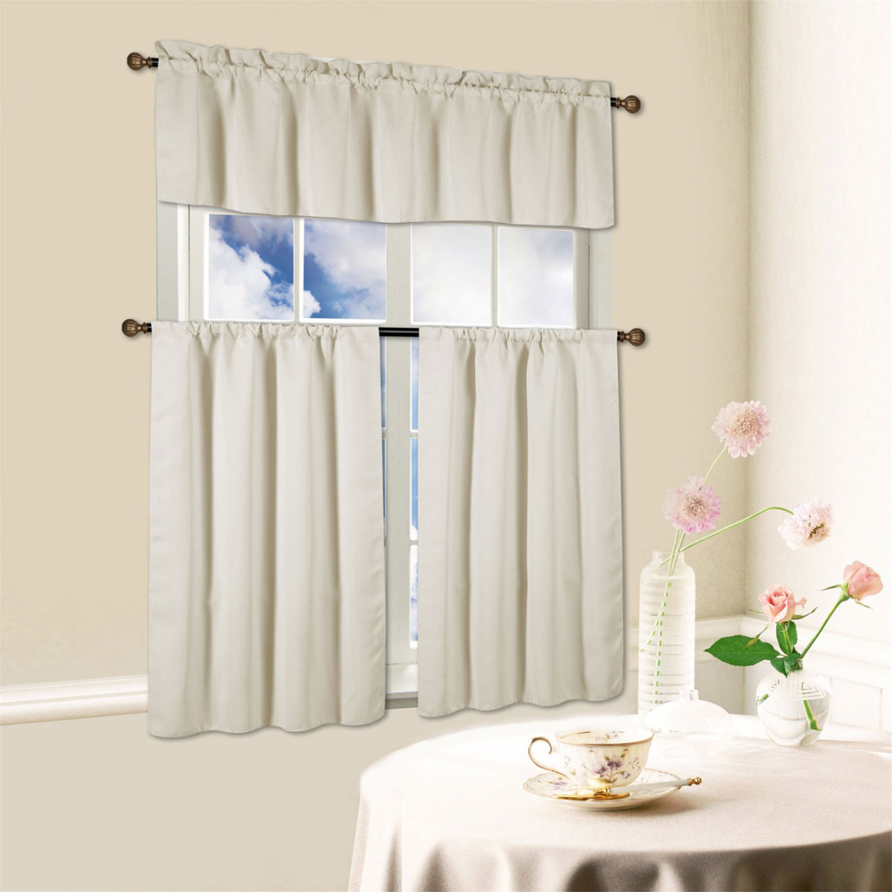 36 Inch Room Darkening Curtains Beth 3 Piece Energy Efficient Blackout Window Kitchen Curtain Set