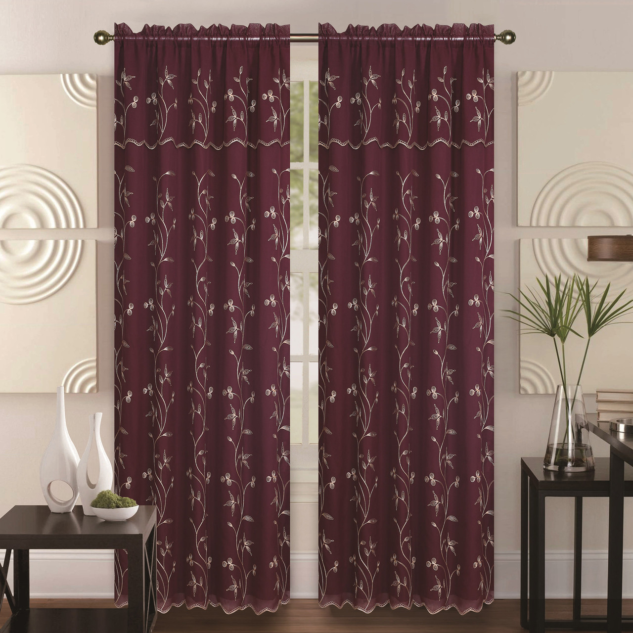 Curtain For Double Window Double Layer Embroidery Floral Vine Sheer Front Fauz Silk Back Rod Pocket Decorative Curtain Panel 55x84 Inch With 18 Inch Valance Alma Single