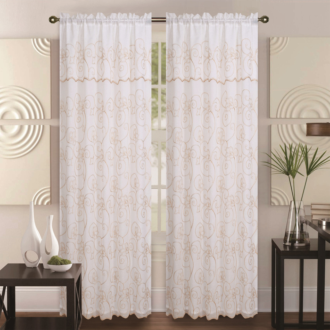 Curtain For Double Window Double Layer Embroidery Floral Sheer Linen Front Faux Silk Back Rod Pocket Valance Decorative Curtain Panel 55x84 Inch Selma Single Drape Panel
