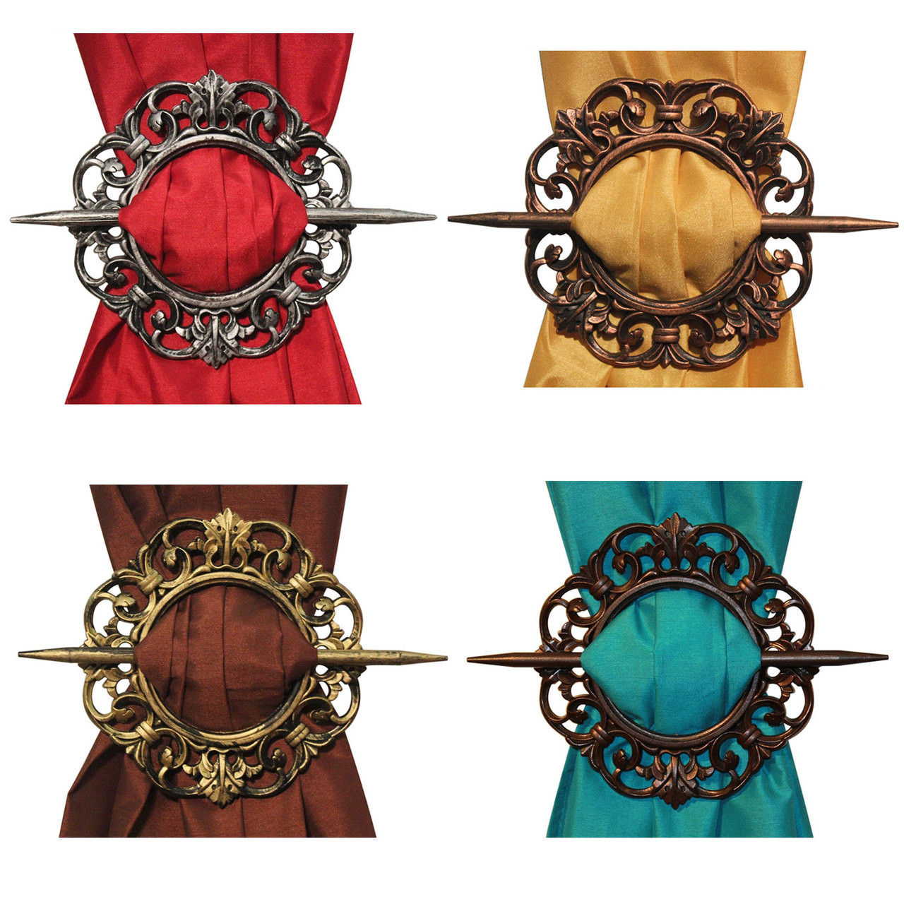 Antique Bronze Curtain Tie Backs Round Antique Window Curtain Holdbacks Tie Backs 4 Colors