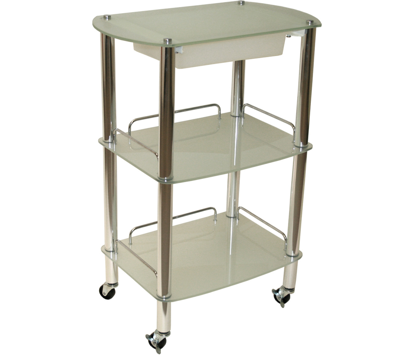 Beauty Trolleys Pro 3040 3050 3060 Glass Trolley With Slide Out Drawer
