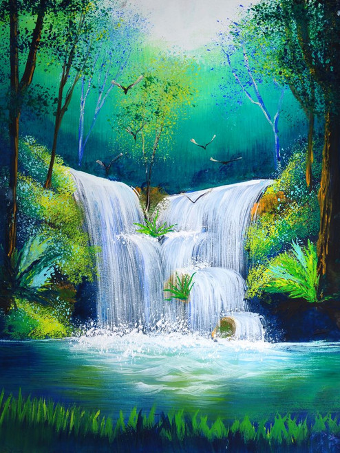 Buy Waterfall And Greenery by Community Artists Group@ Rs. 5890. Code:56Landscape29_2432 - Shop ...