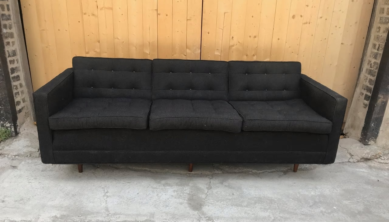 Florence Knoll Sessel Vintage Mid Century Modern Early Addition Florence Knoll Sofa Original Black Fabric