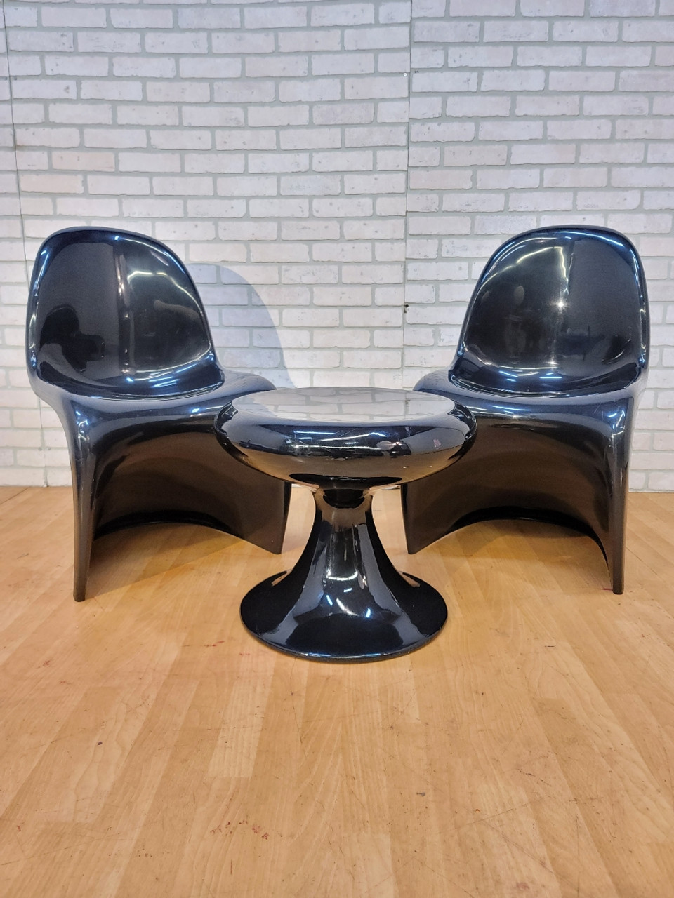 Mid Century Modern Two Black Verner Panton For Herman Miller S Chairs And Low Stool 3 Piece Set Vintage Grind House