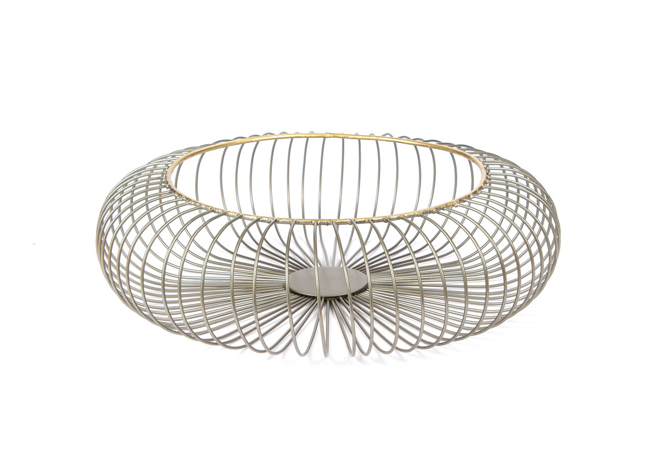 Wire Fruit Bowls Red Fig Home Decorative Wire Basket Metal With Zinc Gold Finish Round Design Home Décor Accent Table Centerpiece