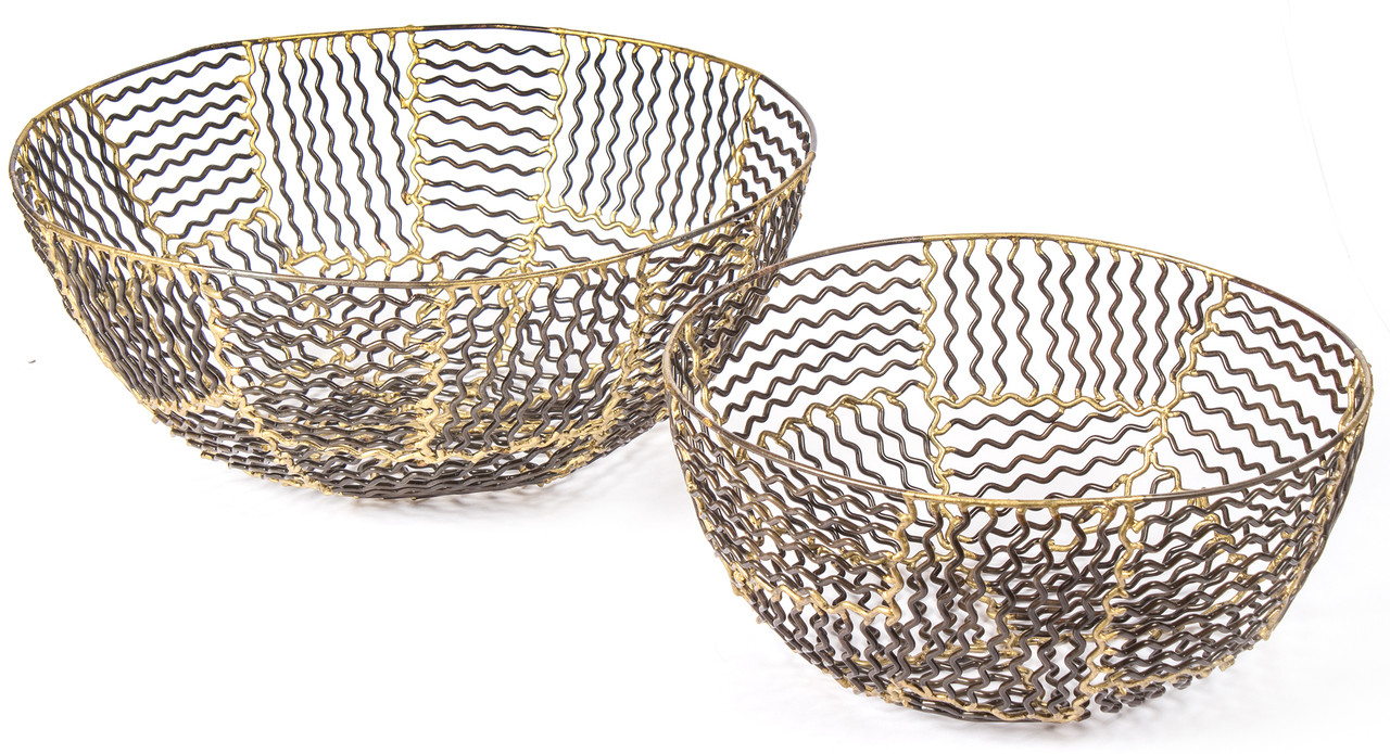 Modern Metal Fruit Bowl Red Fig Home Decorative Metal Baskets Set Of 2 Iron Bowls Bronze Gold Finish Wave Design Décor Accent Wall Art Table Centerpiece