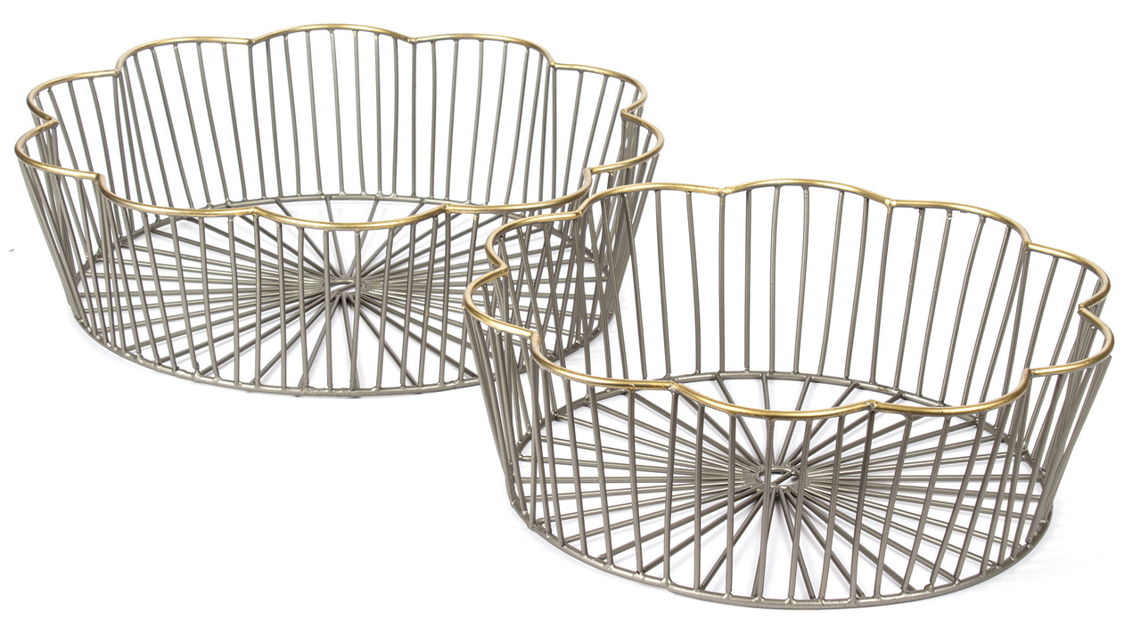 Bike Basket Big W Red Fig Home Set Of 2 Medium And Small Iron Zinc Gold Hom116
