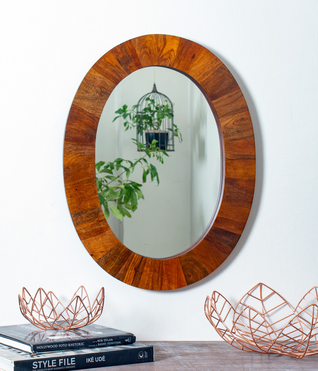 Oval Mirror Wood Frame Red Fig Home Wall Mirror Décor Decorative Multi Finish Wooden Frame Large Oval Mounted Mirror For Hallway Bedroom Bathroom Living Room