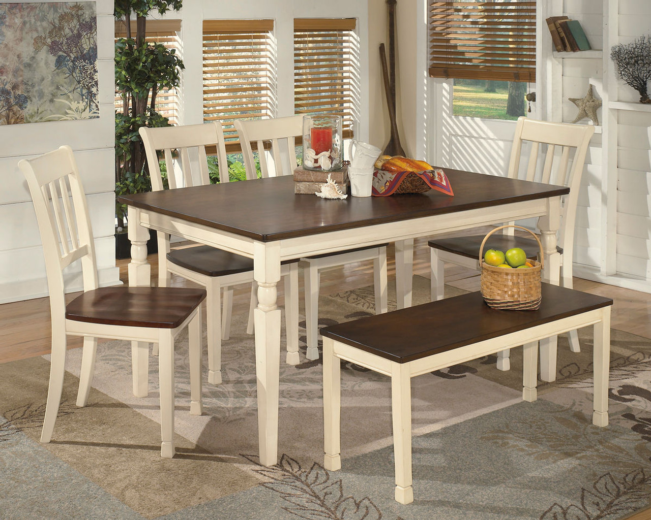 Ashley Whitesburg 6 Pc Rectangular Dining Room Table 4 Side Chairs Bench On Sale At Furniture And Mattress Warehouse Serving Holland Mi