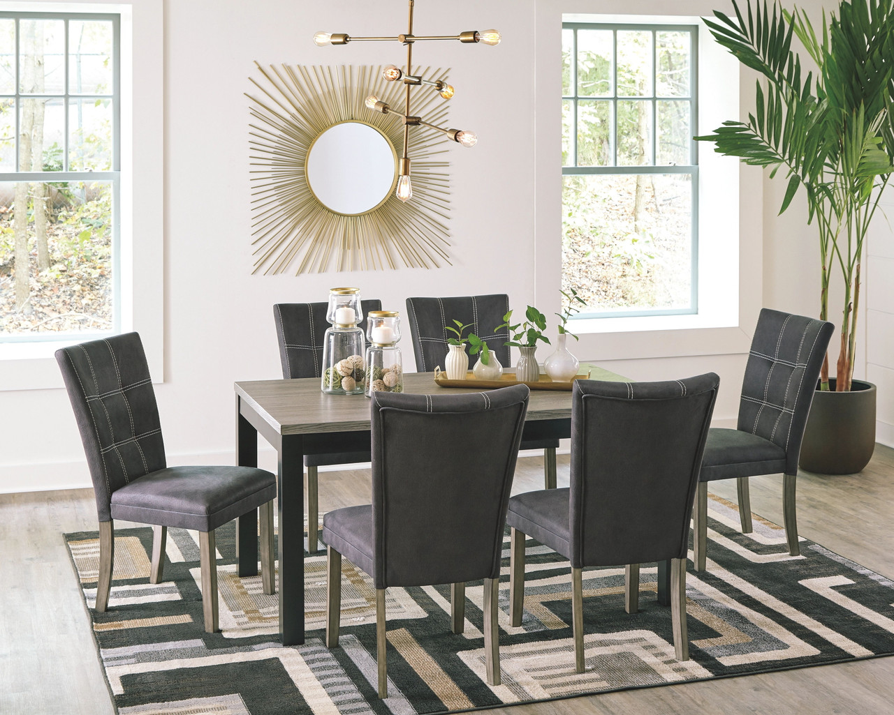 The Dontally Two Tone 7 Pc Rectangular Table 6 Upholstered Side Chairs Available At Ritz Furniture Planet Serving Mississauga On
