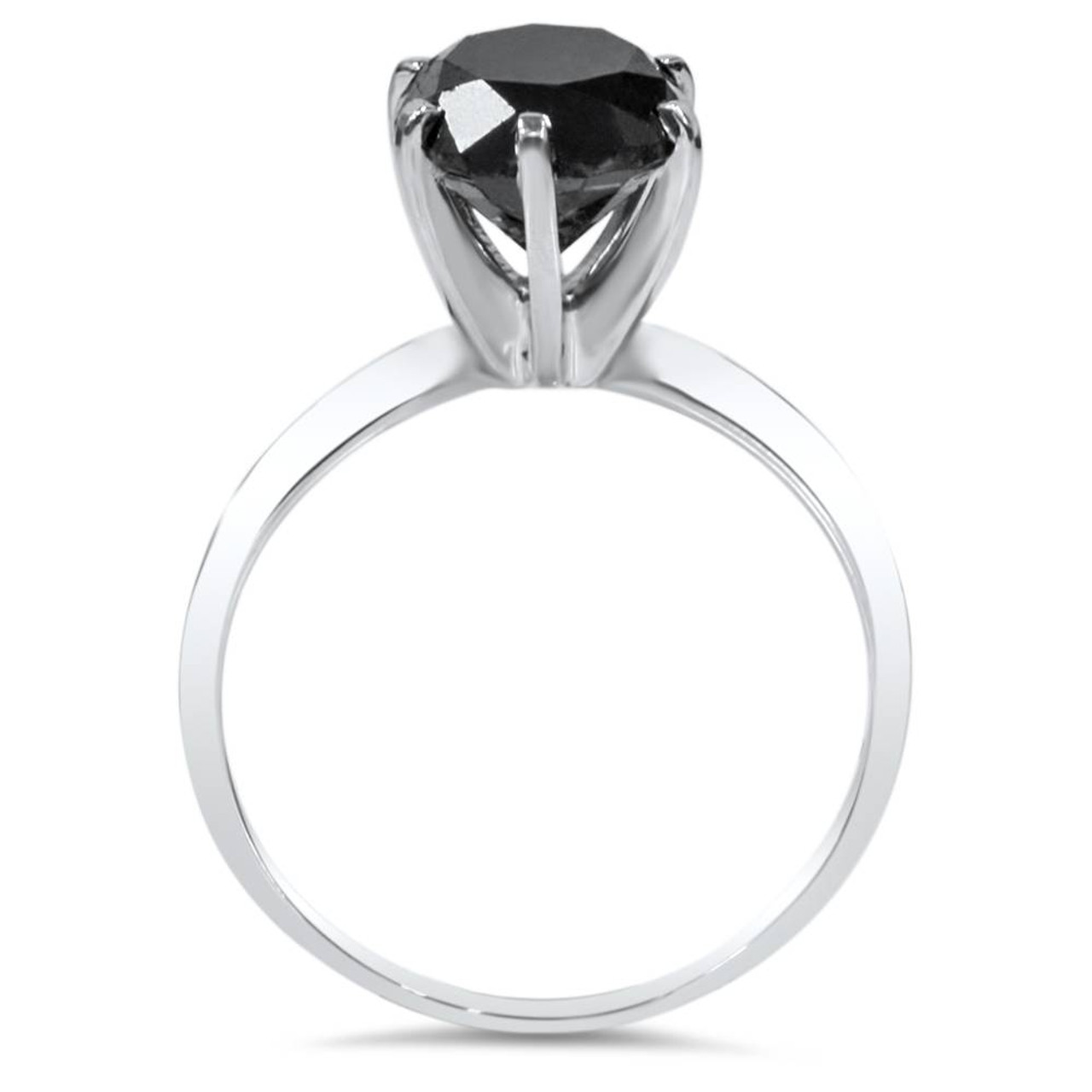 Black Diamond 2 1 2ct Black Diamond Solitaire Ring 14k White Gold Black