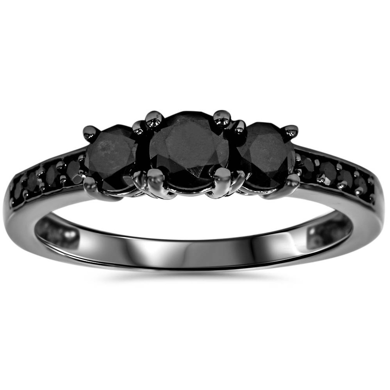 Black Diamond 1 1 5ct Heat Treated Black Diamond 3 Stone Ring 10k Black Gold Black I3