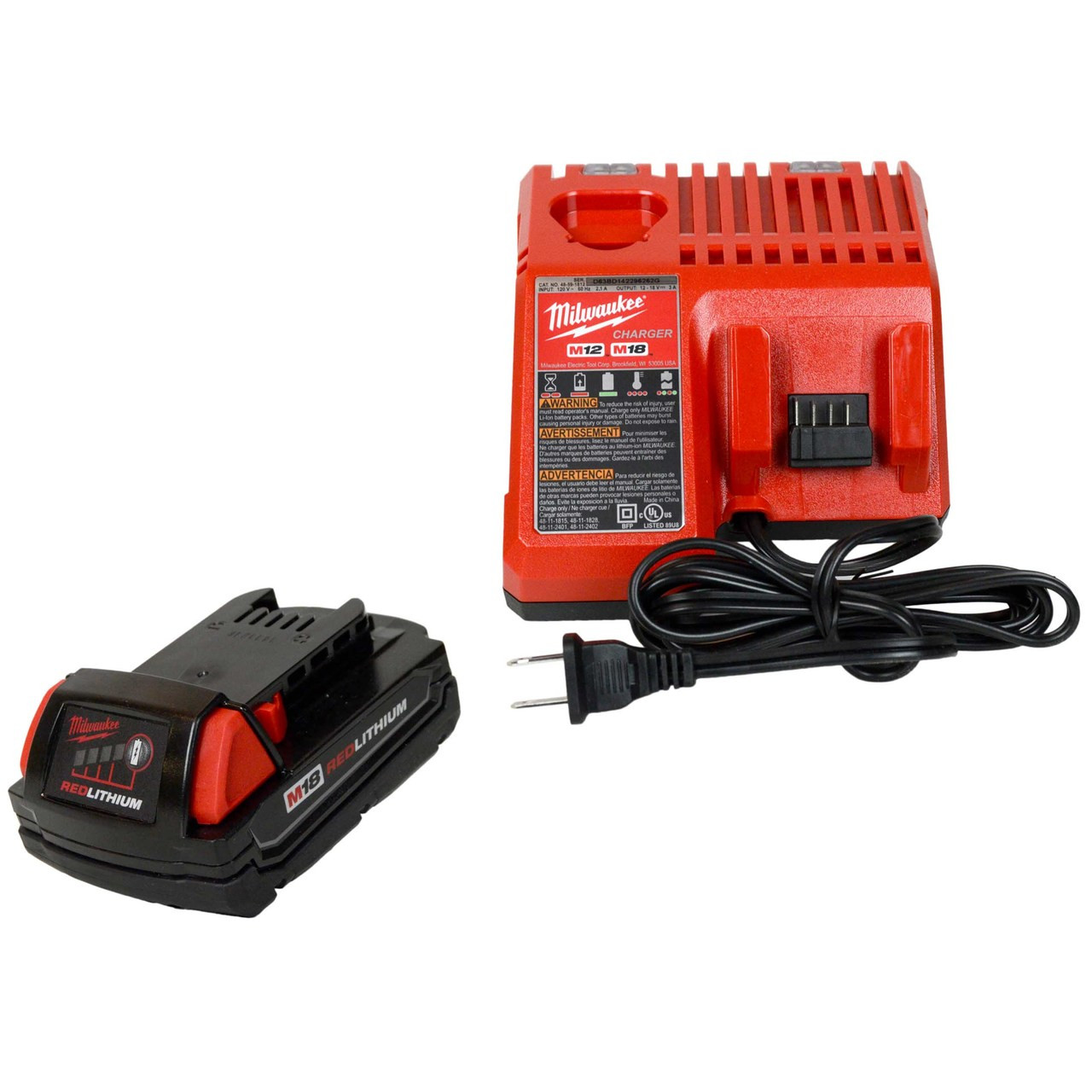 Milwaukee M18 Battery Milwaukee 48 59 1812 M12 M18 Battery Charger 1 48 11 1815 18v 1 5ah Battery