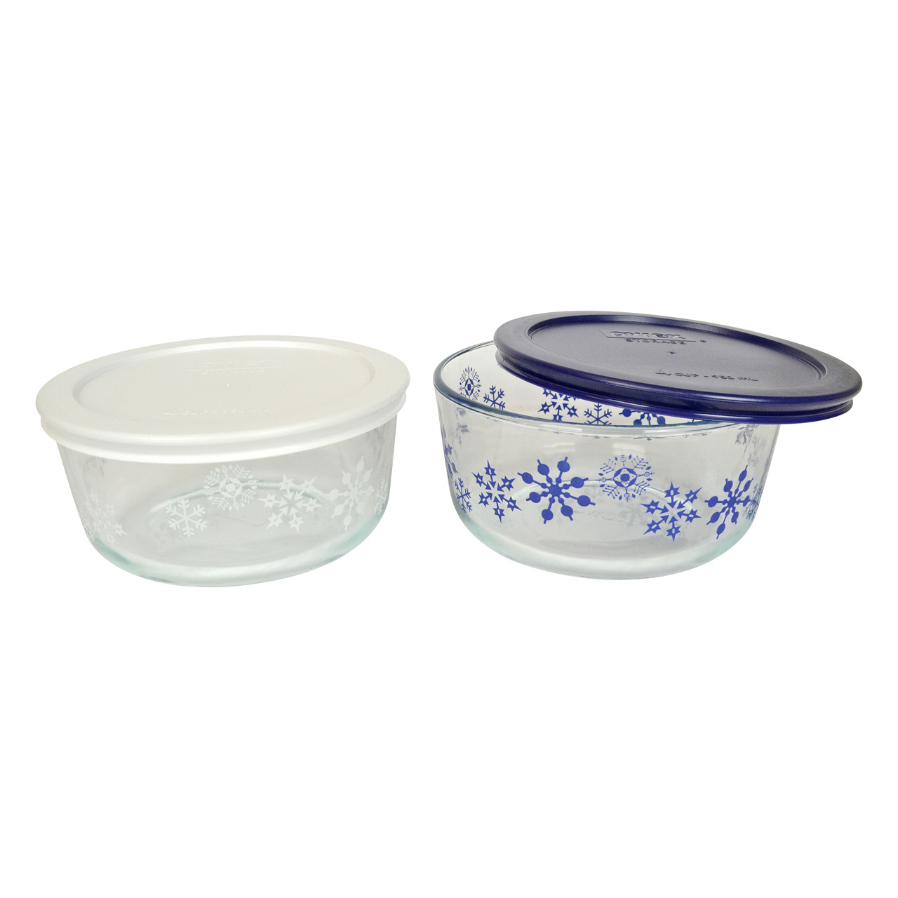 Decorative Glass Bowls Pyrex Simply Store 4 Cup Blue White Sowflake Glass Bowls W Plastic Lids 2 Pack
