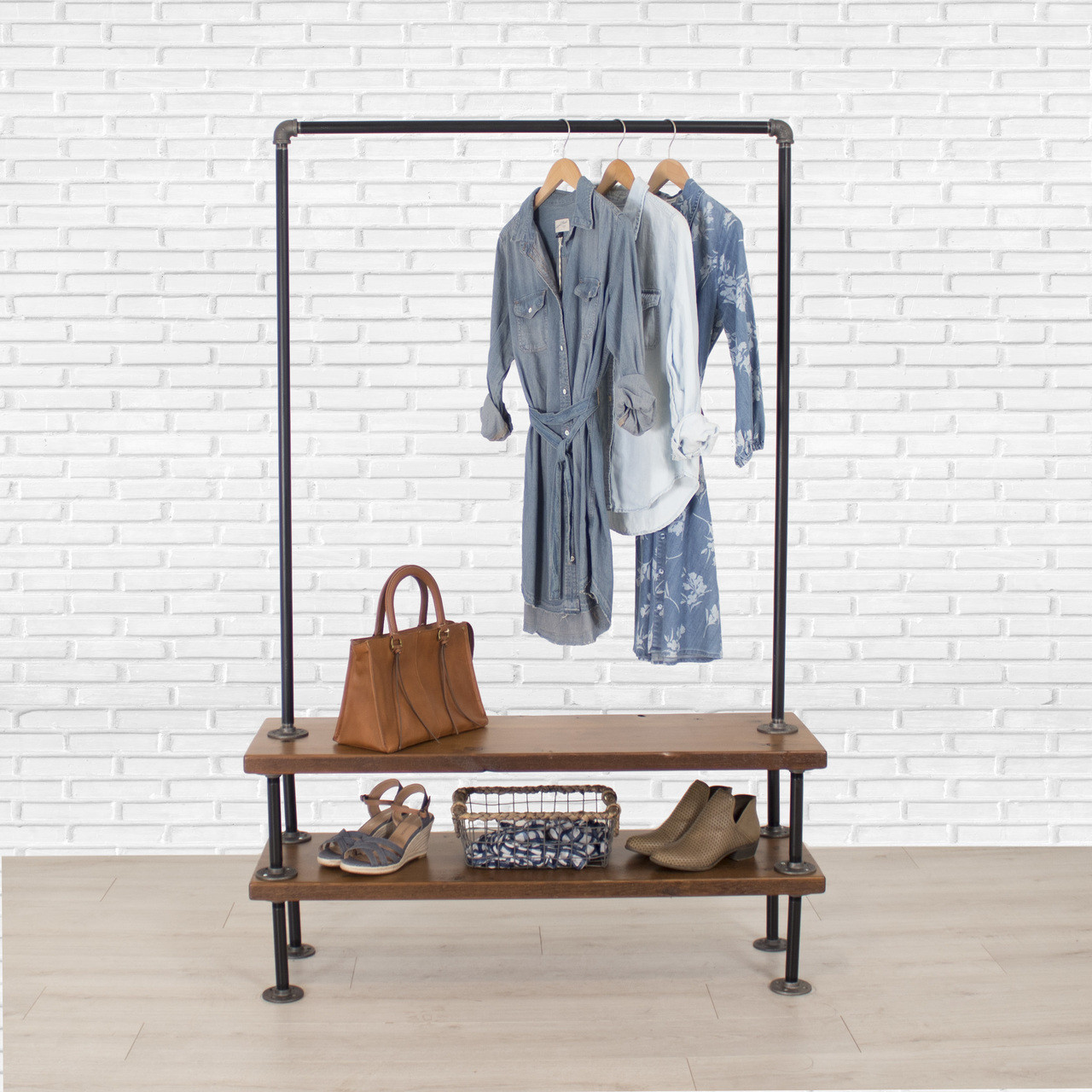Industrial Clothing Rack Industrial Pipe Clothing Rack With Cedar Wood Shelves Double Shelf