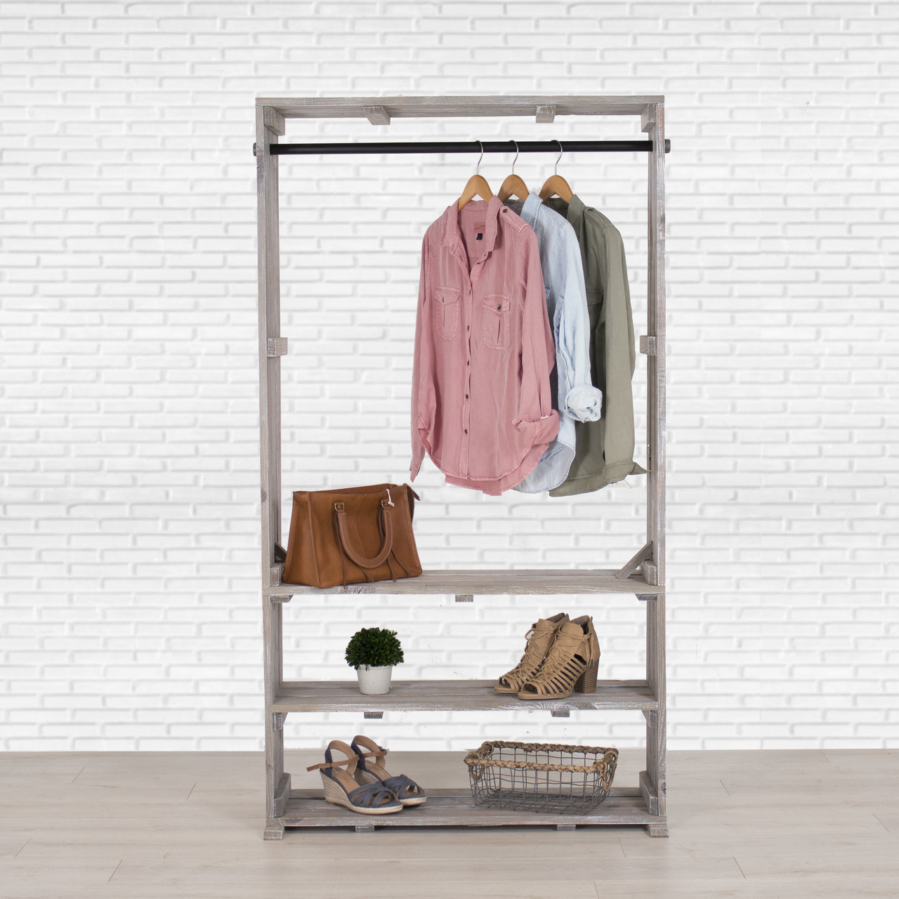 Clothes Storage Wooden Clothing Rack With Shelves Free Standing Clothing Storage Closet Organizer Pipe And Wood Clothes Rack Garment And Shoe Stand Distressed