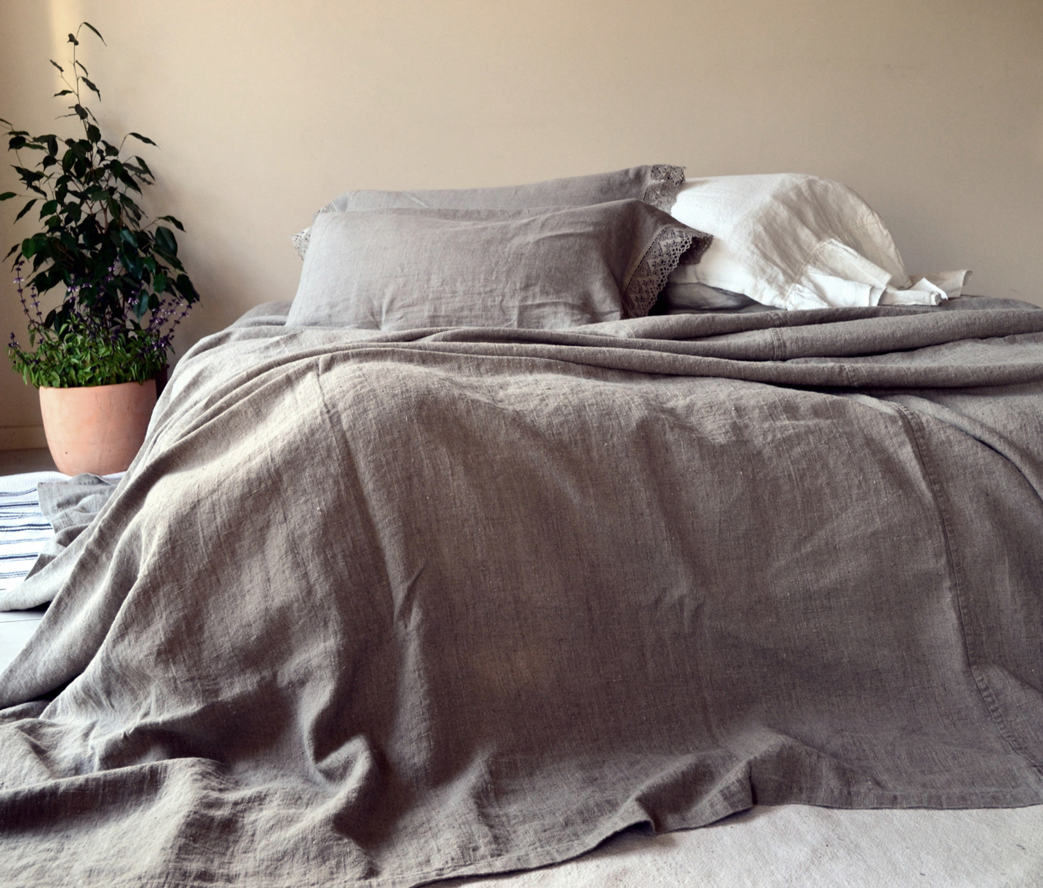 Bed Coverlet Rustic Rough Linen Bed Cover Coverlet