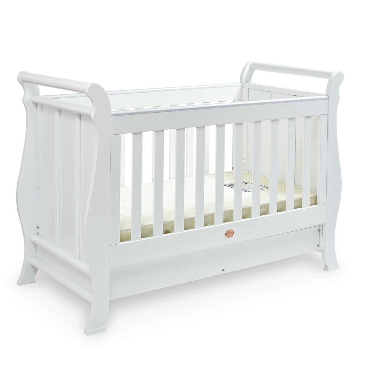 Baby Cradle Dimensions Super Nanny 4 In 1 Classic Sleigh Cot Bed White
