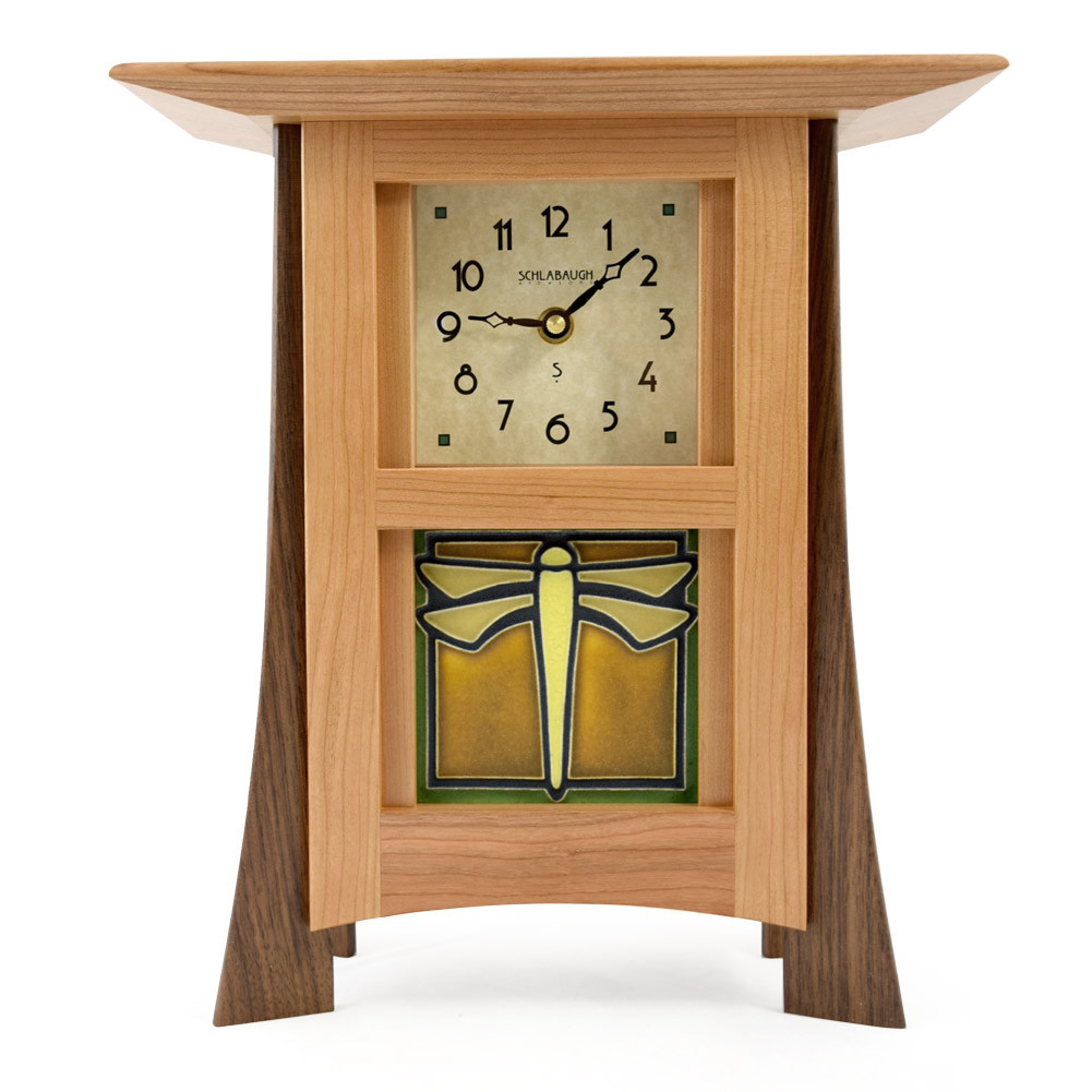 Https Modernartisans Com Contemporary Cherry Mantel Clock With Dragonfly Tile
