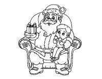 Disegno di Babbo Natale e bambino di Natale da Colorare
